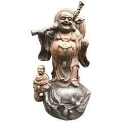 Happy Laughing Buddha, Large Hand Carved Chinese Standing Statue, Child at Feet