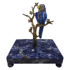 Happy Macaw 18 Karat Gold, Diamonds and Lapis Lazuli Figurine Sculpture