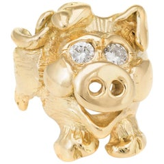 Happy Pig Ring Vintage 18k Yellow Gold Estate Fine Animal Jewelry Pre Owned 7