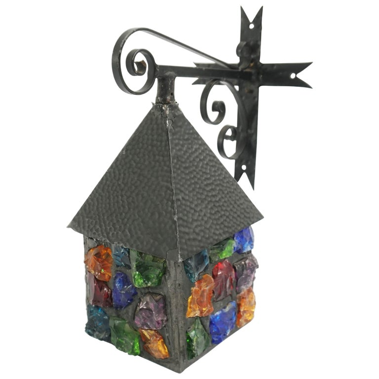 Happy Small House Colored Glass Outdoor Lantern, 1960 For Sale