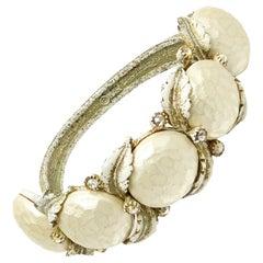 Har Creations 1950s Pearlesant Clamper Bracelet