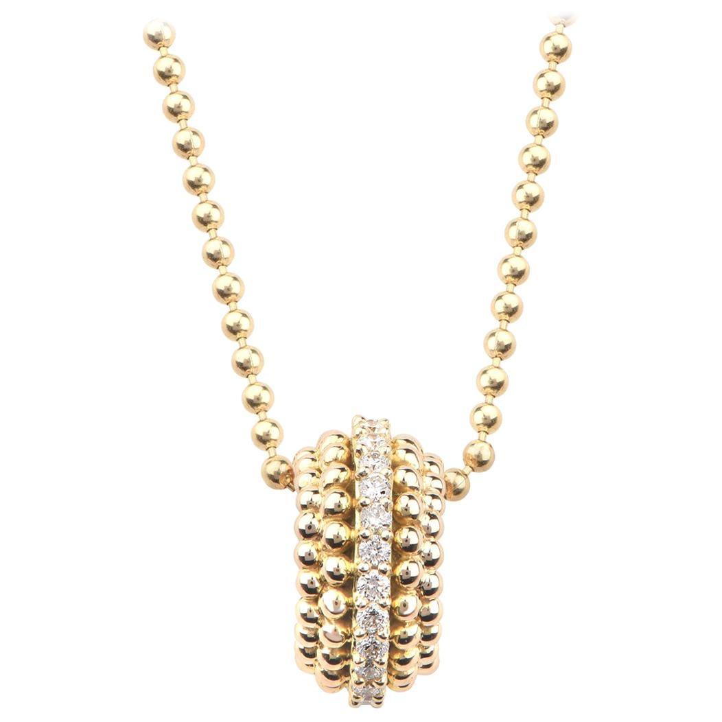 Harakh 0.16 Carat Colorless Diamond 18 Karat Gold Sunlight Pendant Necklace