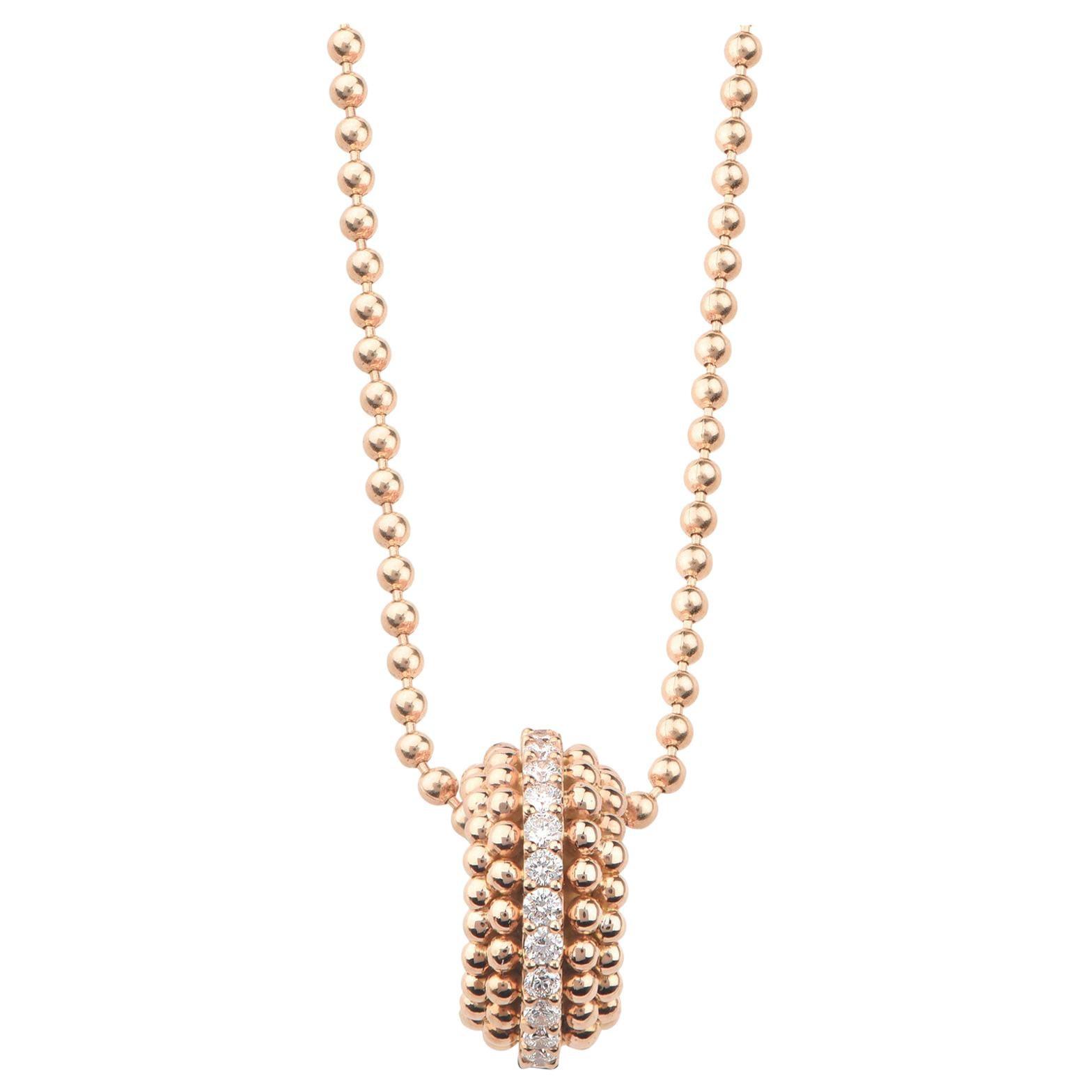 Harakh 0.16 Carat Colorless Diamond 18 Karat Rose Gold Sunlight Pendant Necklace