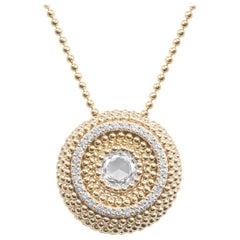 Harakh 0.68 Carat Colorless Diamond 18 Karat Gold Sunlight Pendant Necklace