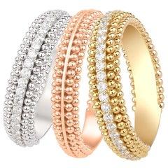 Harakh 1.11 Carat Colorless Diamond 18 Karat Tricolor Sunlight Stackable Rings