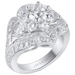 Harakh 18 Karat Haveli Gia Certified Colorless Diamond Ring, 5 Carat TDW