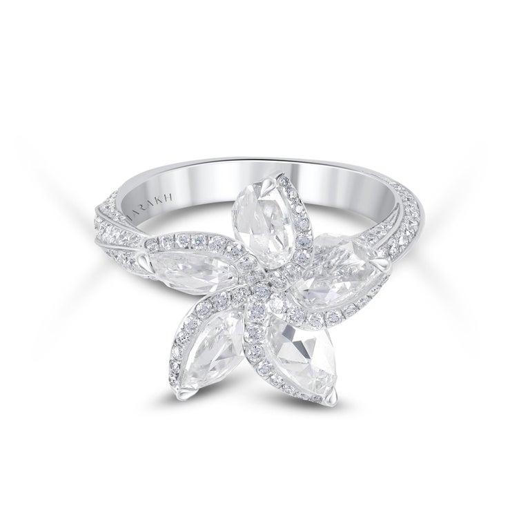Modern Harakh 18 Karat White Gold 2.70 Carat Colorless Diamond Engagement Ring For Sale
