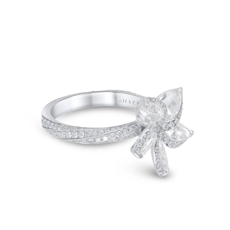 Round Cut Harakh 18 Karat White Gold 2.70 Carat Colorless Diamond Engagement Ring For Sale