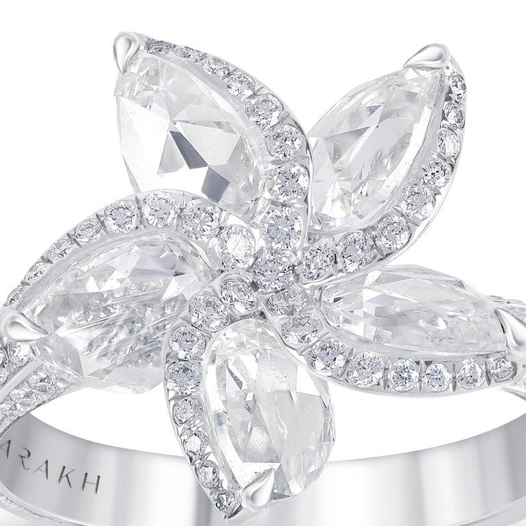 Harakh 18 Karat White Gold 2.70 Carat Colorless Diamond Engagement Ring In New Condition For Sale In New York, NY
