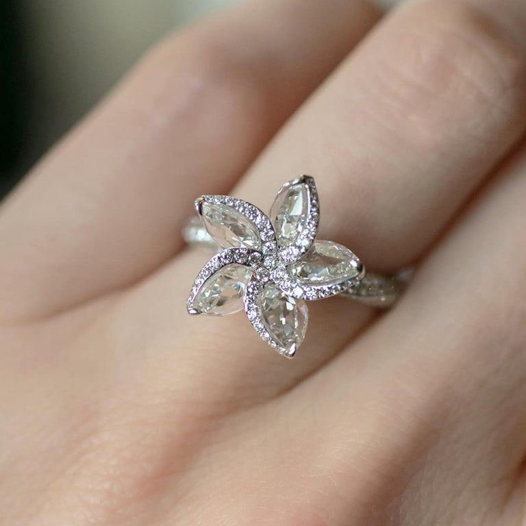 Women's or Men's Harakh 18 Karat White Gold 2.70 Carat Colorless Diamond Engagement Ring For Sale