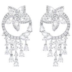 Harakh 18 Karat White Gold Colorless Diamond Detachable Dangle Drop Earrings