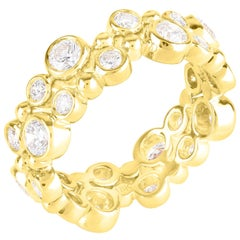 Harakh 18 Karat Yellow Gold Bubble Stackable Colorless Diamond Band Ring