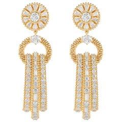 Harakh 18 Karat Yellow Gold Chandelier Colorless Diamond Dangle Drop Earrings