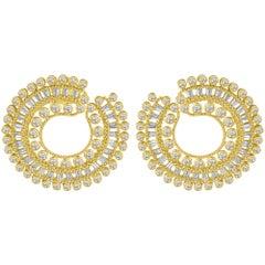 Harakh 4.72 Carat Colorless Diamond 18 Karat Yellow Gold Hoop Earrings