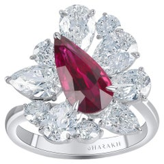 Harakh 18 Kt Ruby and GIA Certified Colorless Diamond Bridal Ring, 4.55 Ct TDW