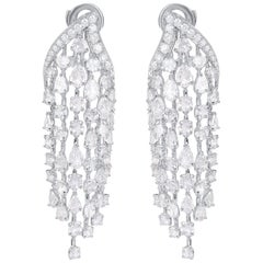 Harakh 18kt Cascade Rose Cut and Brilliant Colorless Diamond Dangling Earrings