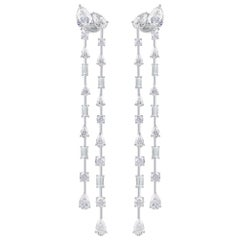Harakh GIA Certified 8.75 CT Colorless Diamond 18 KT Raindrop Dangling Earrings