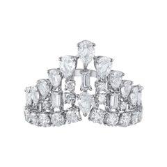 Harakh 2.35 Carat Colorless Diamond 18 Karat White Gold Raindrop Cocktail Ring