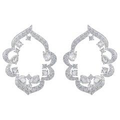 Harakh 2.99 Carat Colorless Diamond 18 Karat White Gold Earrings