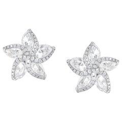 Harakh 3.50 Carat 18 Karat White Gold Colorless Diamond Frangipani Stud Earrings