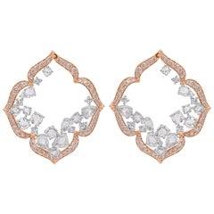 Harakh 5.12 Carat Colorless Natural Pink Diamond 18 Karat Rose Gold Earrings