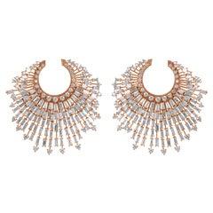 Harakh 6.85 Carat Colorless Diamond 18 Karat Rose Gold Earrings