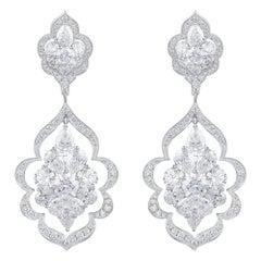 Harakh 7.80 Carat Colorless Diamond Haveli 18 Karat Dangling Earrings