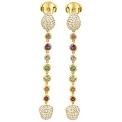 Harakh Colorless Diamond and Multi Gem 18 Karat Yellow Gold Dangling Earrings