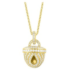 Harakh Colorless Diamond Embellished 18 Karat Yellow Gold Pendant Necklace