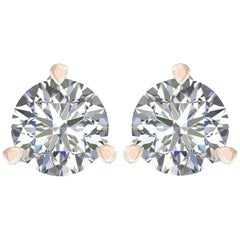 Harakh GIA Certified 2.01 Carat F Color VS2 Clarity 18 KT Diamond Stud Earrings