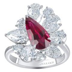 Harakh GIA Certified 4.55 Carat Ruby and Colorless Diamond 18 Karat Bridal Ring