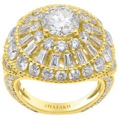 Harakh GIA Certified 6.50 Carat TDW 18 Karat Sunlight Colorless Diamond Ring
