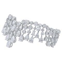 Harakh GIA Certified Brilliant and Rose Cut Colorless Diamond 18 Karat Cuff