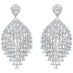 Harakh GIA Certified Colorless Diamond 18 Karat White Gold Dangling Earrings