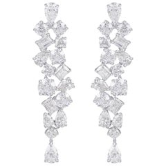Harakh GIA Certified Colorless Diamond Dangling White Gold Earrins