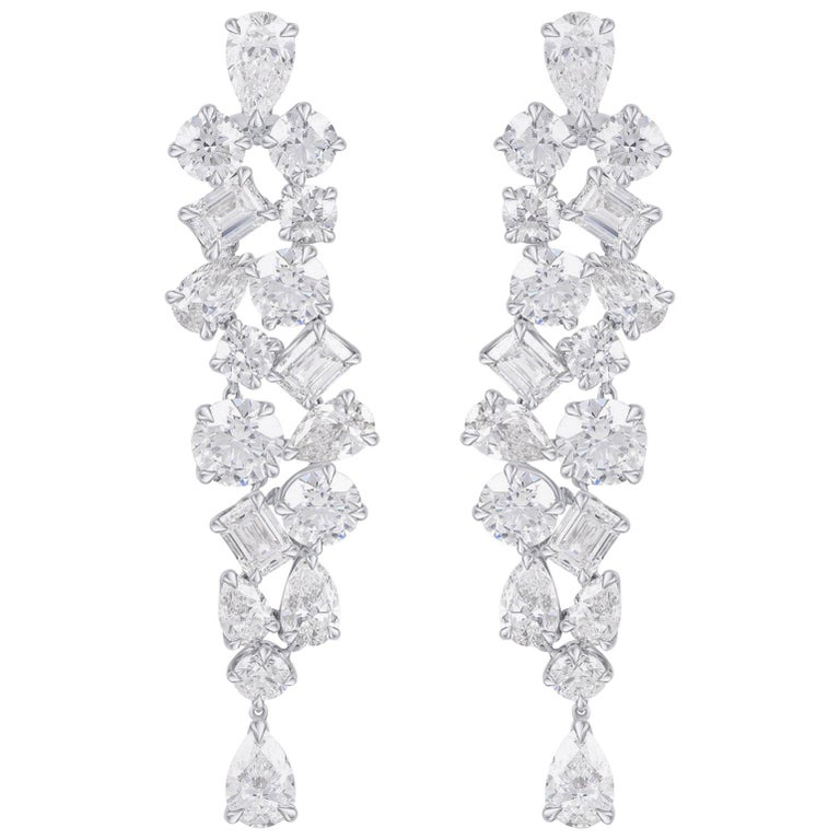 Harakh GIA Certified 32.30 Carat Colorless Diamond  Dangling White Gold Earrings For Sale