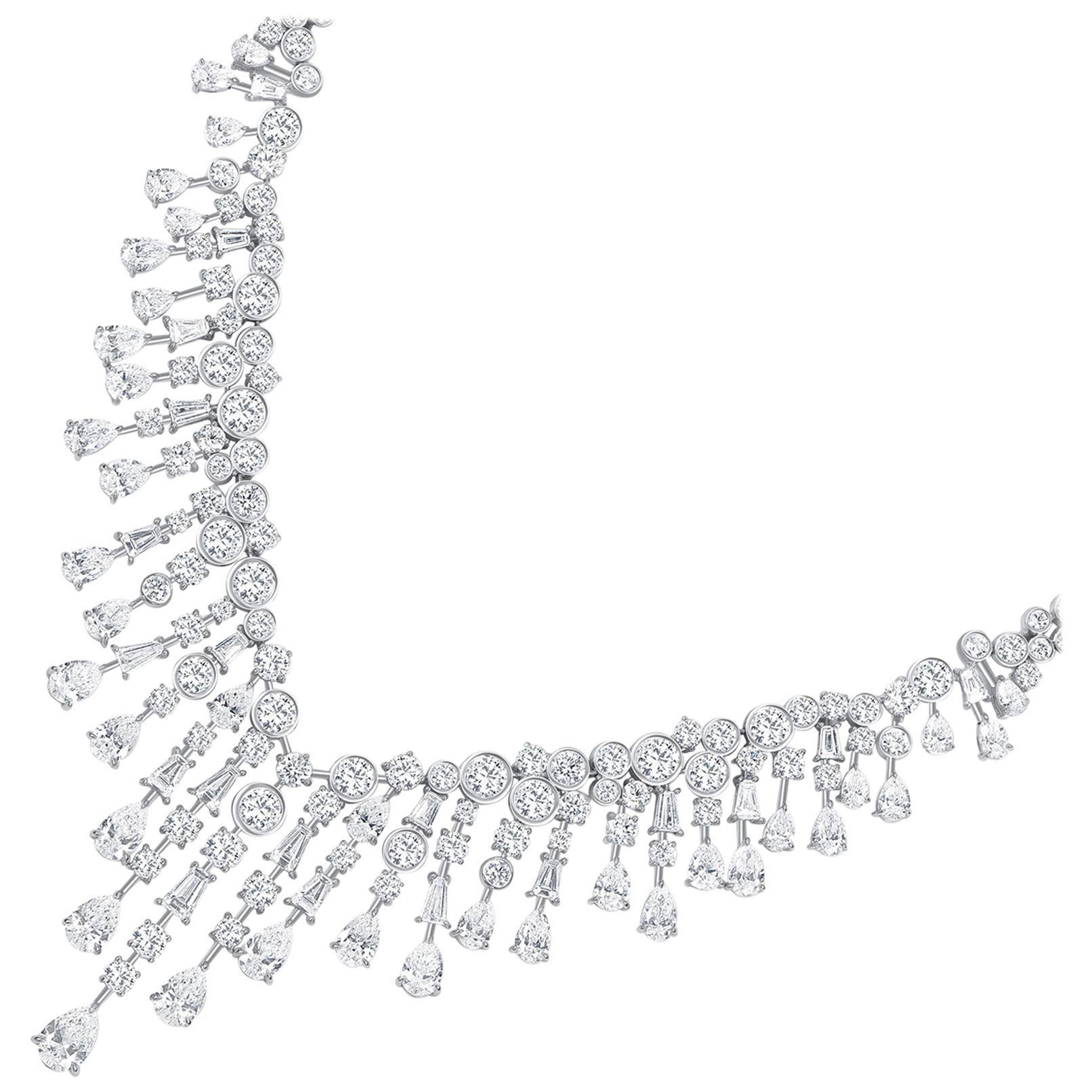 Harakh GIA Certified Colorless Diamond Raindrop 18 Karat White Gold Necklace