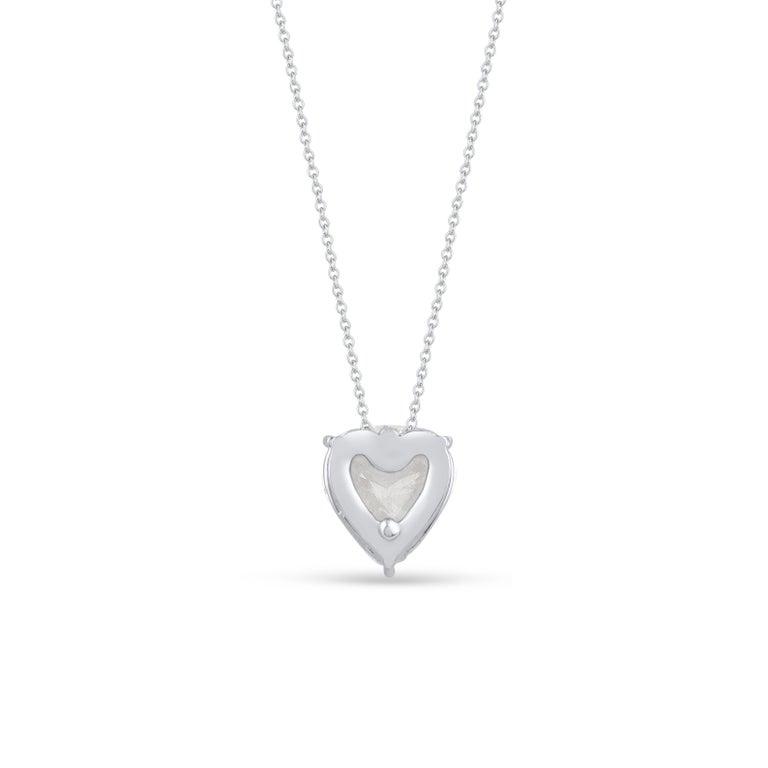 Women's Harakh GIA Certified E/VS2 Diamond Rose Cut White Gold Pendant Necklace
