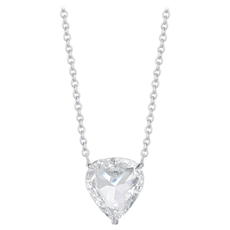 Harakh GIA Certified E/VS2 Diamond Rose Cut White Gold Pendant Necklace