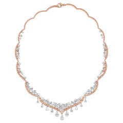 Harakh GIA Certified Pear, Brilliant, Rose Cut, Argyle Pink Diamond Necklace