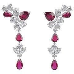Harakh GIA Certified Ruby and Colorless Diamond 18 Karat Dangling Earrings