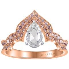 Harakh Haveli 18 Karat Pear Rose Cut and Natural Pink Diamond Engagement Ring