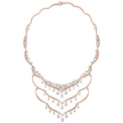 Harakh Haveli Multi-Layer Pink Diamond Necklace with Colorless Rose Cuts