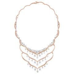 Harakh GIA Certified Multi-Layer Natural Pink and Colorless Diamond Necklace