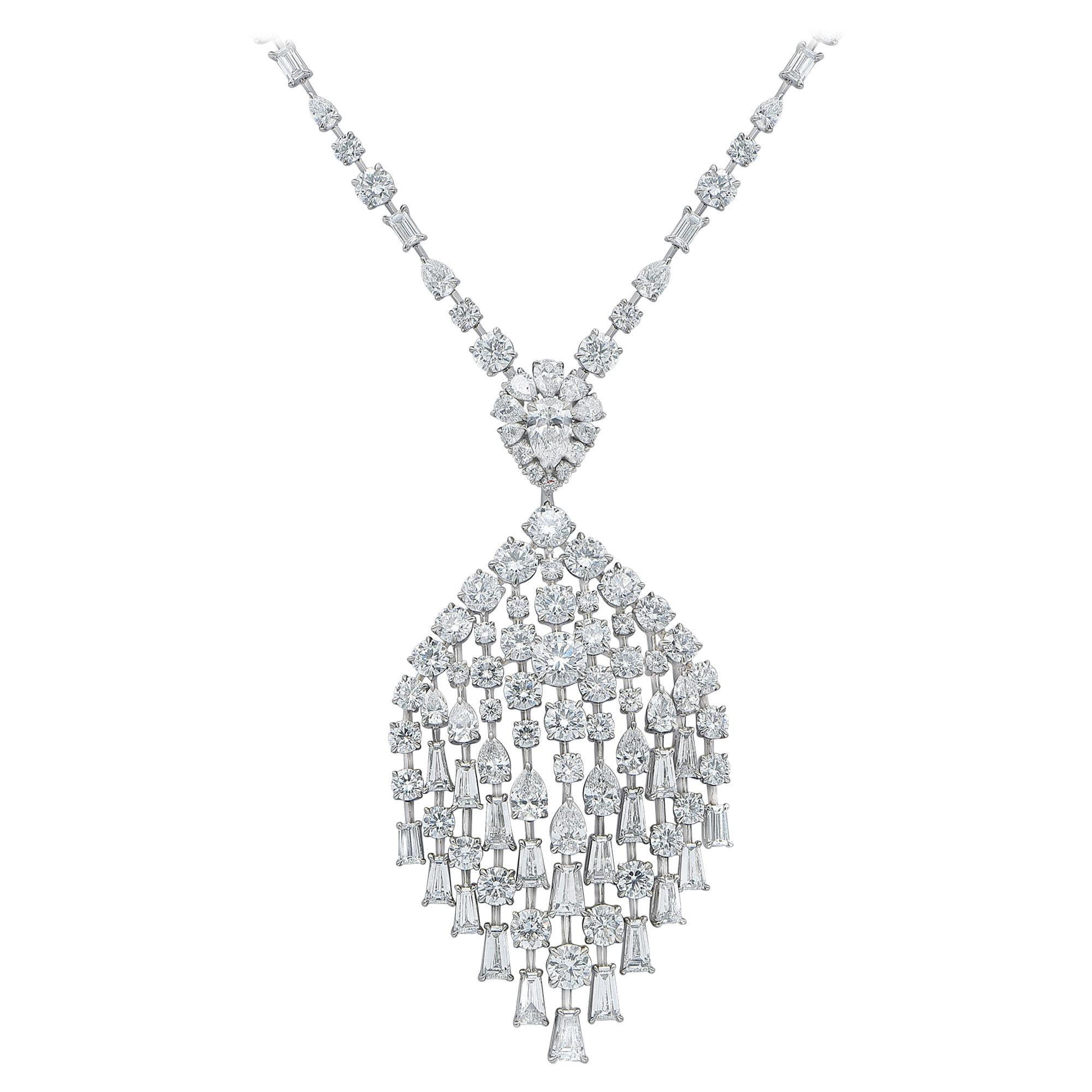 Harakh GIA Certified 33.15 CT Colorless Diamond 18KT White Gold Peacock Necklace