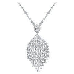 Harakh Peacock Colorless Diamond Necklace, GIA Certified 33.15ct TDW 18kt Gold