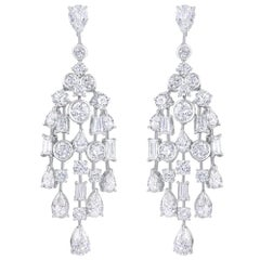 Harakh GIA Certified Platinum Colorless Diamond Dangle Drop Chandelier Earrings