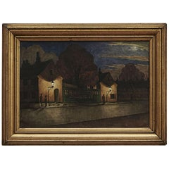 "Harald Engman Painting ""Nyboder at Night Time"""
