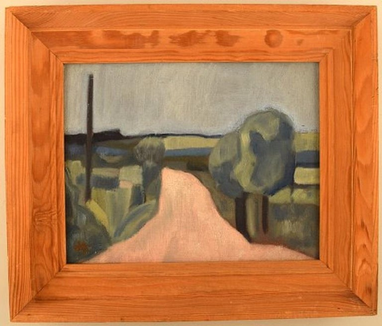 Harald Giersing (born 1881 in Copenhagen; died 1927). Oil on canvas. Modernist landscape. Road with trees at Svanninge hills, circa 1920.