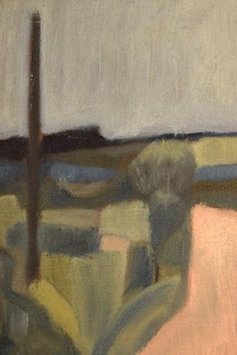 Early 20th Century Harald Giersing, Oil on Canvas, Modernist Landscape, circa 1920 For Sale
